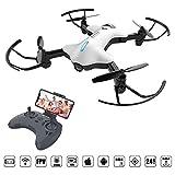 ATOYX AT-146 Drone con Cámara, Mini Drone Plegable con App WiFi FPV 720 HD, Altitud Hold, Modo sin Cabeza, Una Tecla de Despegue y Aterrizaje de Gravedad RTF, Año Nuevo, Blanco